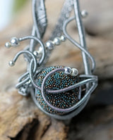 Silver Wire Wrap Focal Bead Pendant
