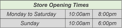 GreenBay Store Opening Times