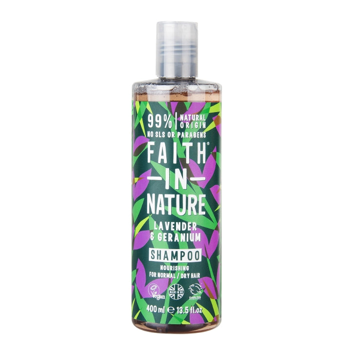 Faith In Nature Lavender & Geranium Shampoo  400ml - Shipping From Just £2.99 Or FREE When You Spend £60 Or More
