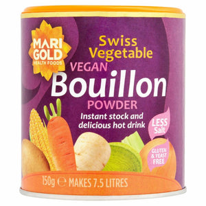 Marigold Reduced Salt Vegan Bouillon Powder 150g - Shipping From Just £2.99 Or FREE When You Spend £55 Or More