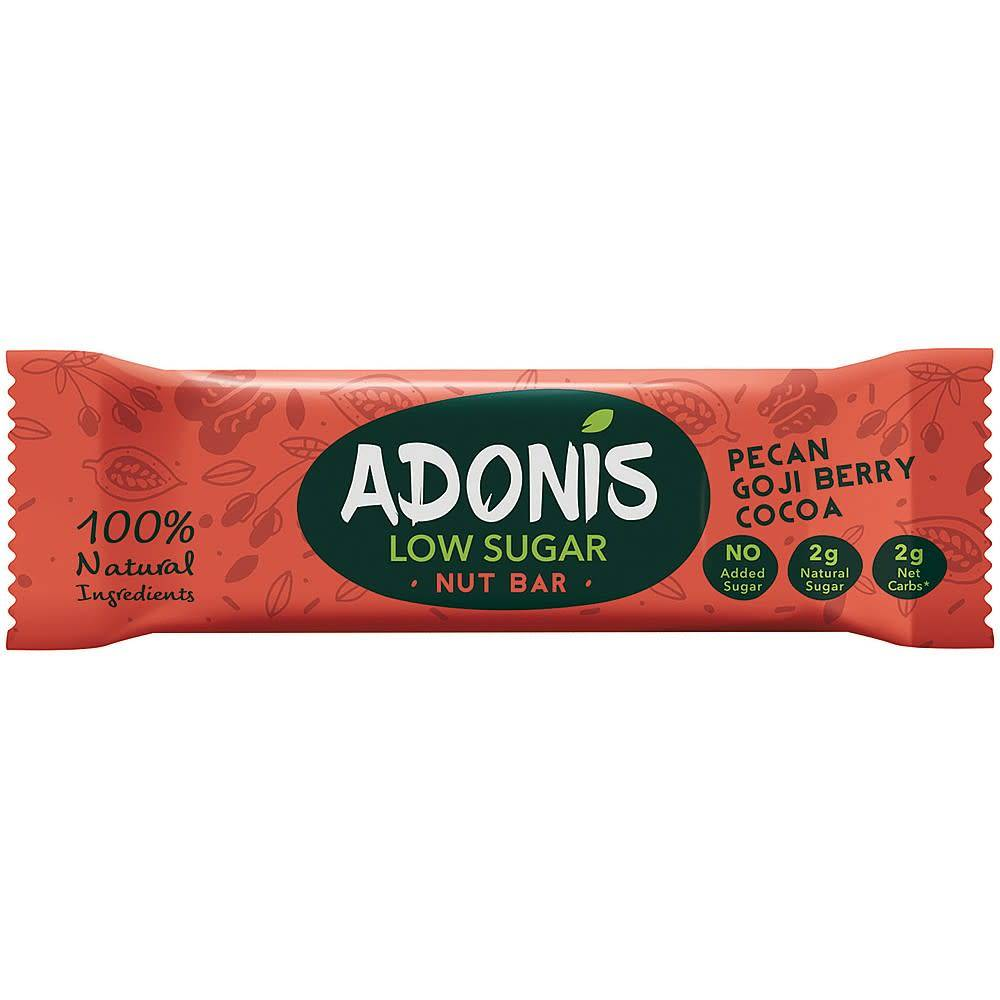 Adonis Pecan Goji Berry Cocoa Bar - 35g - Shipping From Just £2.99 Or FREE When You Spend £60 Or More