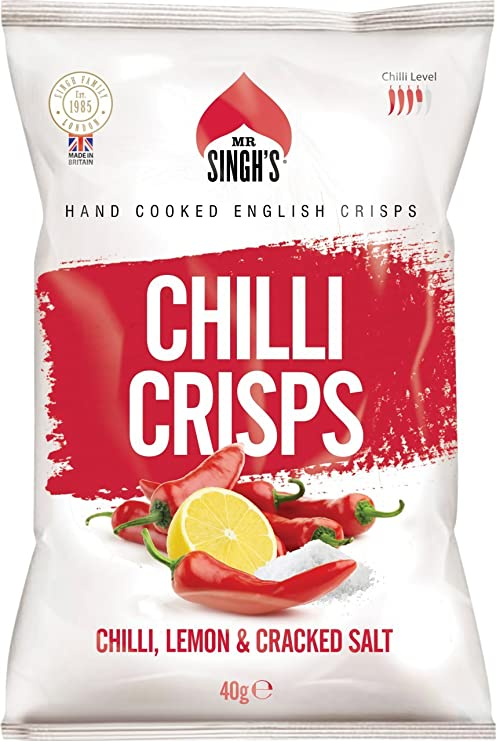 Mr Singh's Chilli, Lemon & Cracked Salt Crisps 40g