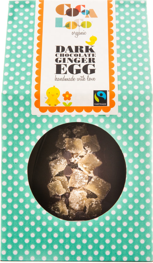 Cocoa Loco Organic Dark Chocolate & Ginger Easter Egg 225g - Shipping From Just £2.99 Or FREE When You Spend £55 Or More