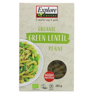 Explore Cuisine Green Lentil Penne 250g - Shipping From Just £2.99 Or FREE When You Spend £60 Or More