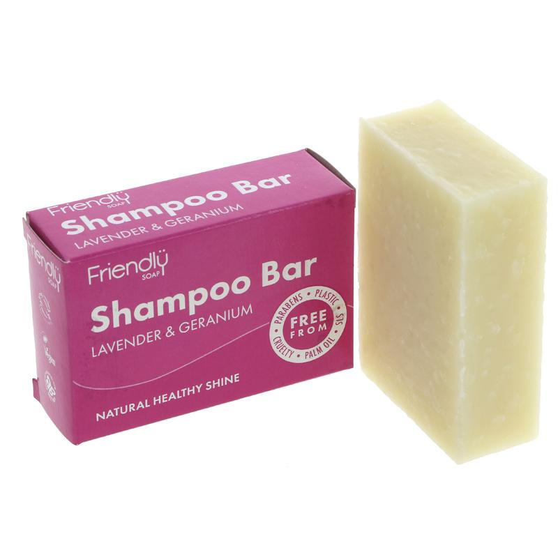 Friendly Soap Shampoo Bar Lavender & Geranium - 95g - Shipping From Just £2.99 Or FREE When You Spend £55 Or More