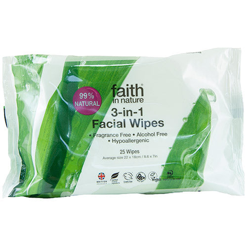 Faith in Nature 3-In-1 Facial Wipes 25 sheets - Shipping From Just £2.99 Or FREE When You Spend £55 Or More