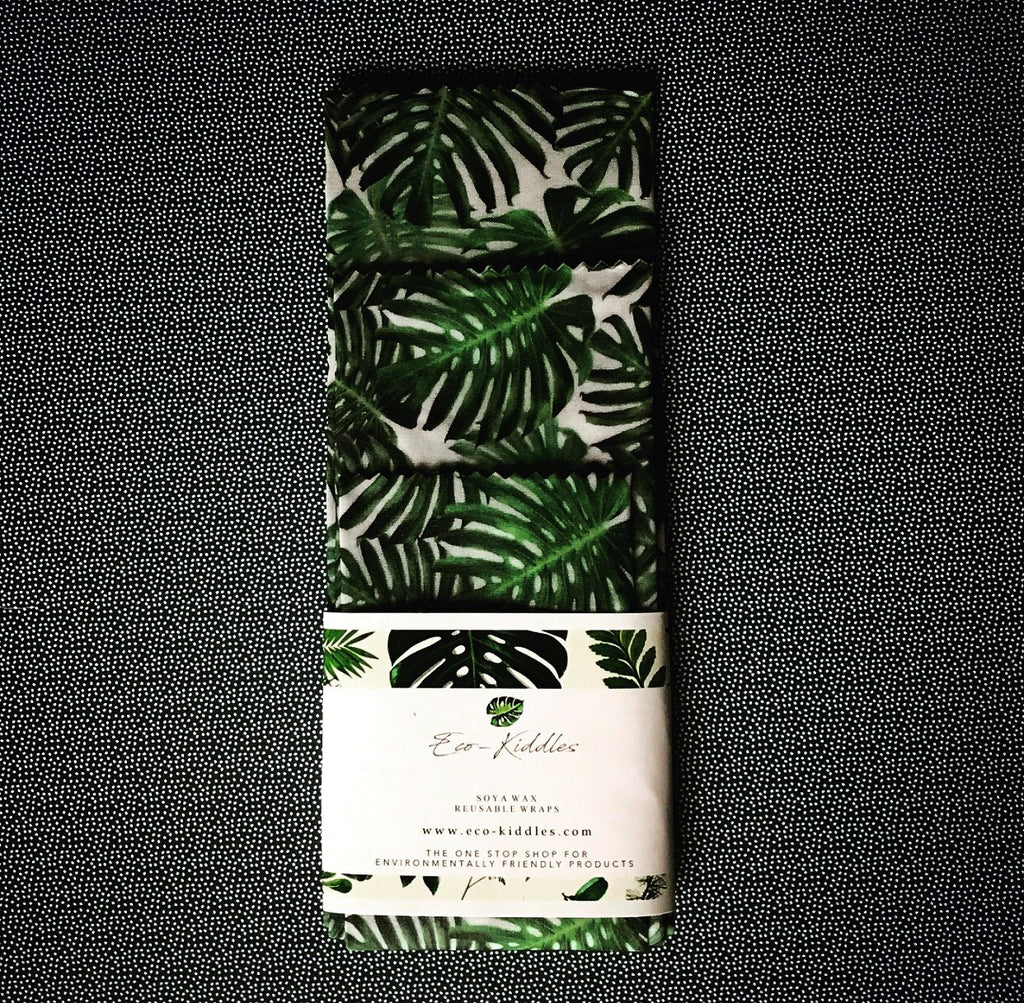 Vegan Reusable Food Wraps - Tropical Leaf Print