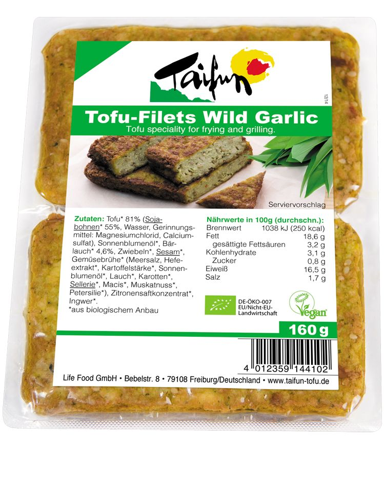 Taifun Organic Tofu Filets Wild Garlic - 160g - Shipping From Just £2.99 Or FREE When You Spend £60 Or More