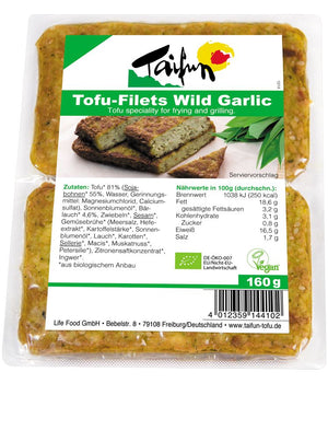 Taifun Organic Tofu Filets Wild Garlic - 160g - Shipping From Just £2.99 Or FREE When You Spend £55 Or More