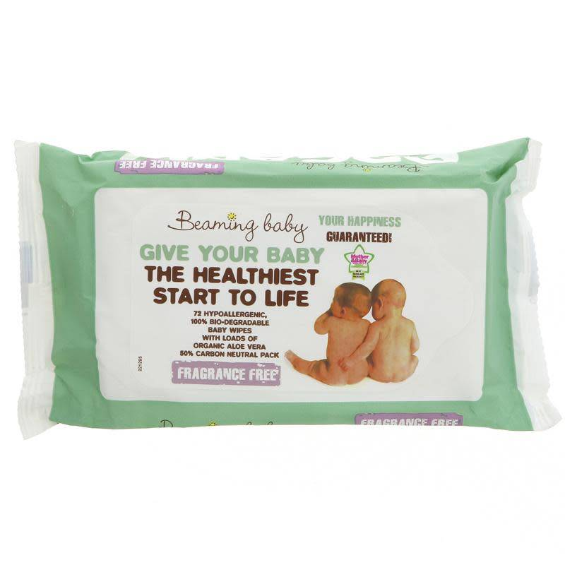 Beaming Baby Organic Baby Wipes Unscented - 72 sheets - Shipping From Just £2.99 Or FREE When You Spend £60 Or More