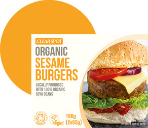 Clear Spot Tofu Sesame Burgers 190g - Shipping From Just £2.99 Or FREE When You Spend £55 Or More