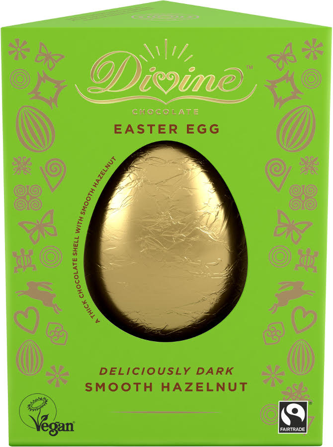 Divine Chocolate Easter Egg Smooth Hazelnut 100g - Shipping From Just £2.99 Or FREE When You Spend £55 Or More