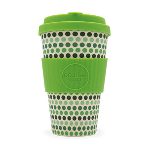Ecoffee Cup Green Polka Reusable Bamboo Cup 400ml - Shipping From Just £2.99 Or FREE When You Spend £55 Or More