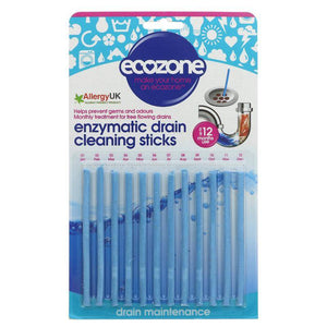 Ecozone Enzymatic Drain Sticks - 12 x 23g - Shipping From Just £2.99 Or FREE When You Spend £60 Or More
