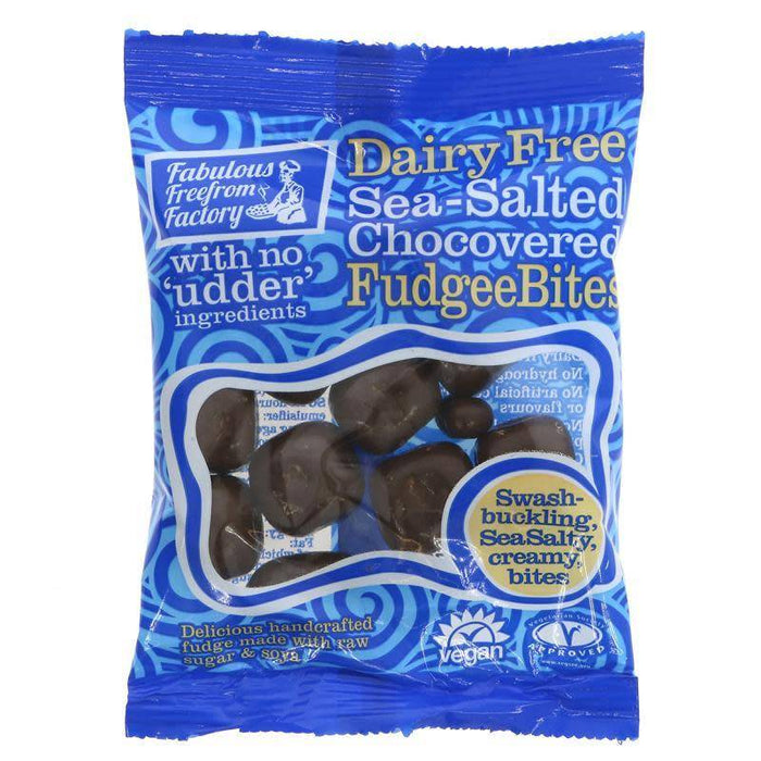 Fabulous Freefrom Factory Dairy Free Sea-Salted Chocovered Fudgee Bites 65g