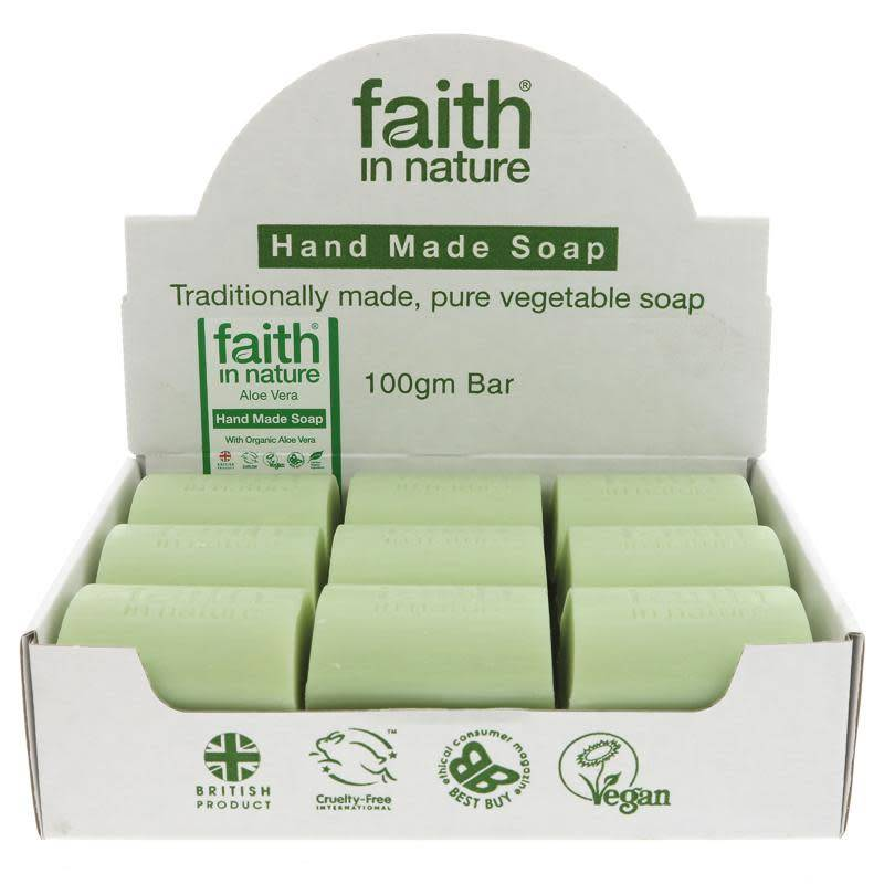 Faith in Nature Aloe Vera Soap 100g - Unwrapped - Shipping From Just £2.99 Or FREE When You Spend £55 Or More