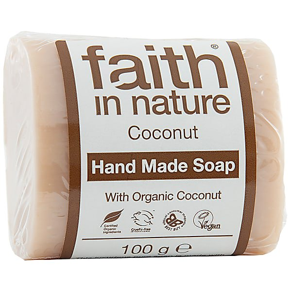 Faith in Nature Soap Coconut 100g - Unwrapped - Shipping From Just £2.99 Or FREE When You Spend £55 Or More