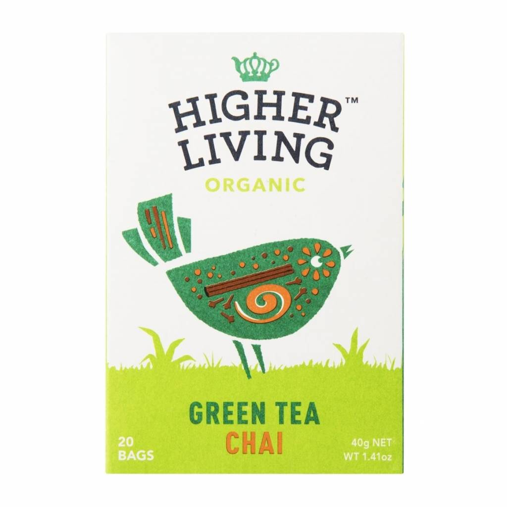 Higher Living Organic Green Tea Chai 20 Bags - Shipping From Just £2.99 Or FREE When You Spend £55 Or More
