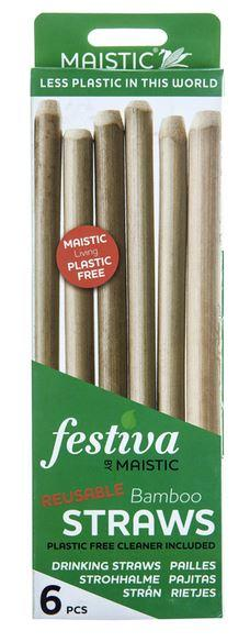 Maistic Bamboo Straws & Cleaner 6 Straws Per Pack - Shipping From Just £2.99 Or FREE When You Spend £60 Or More