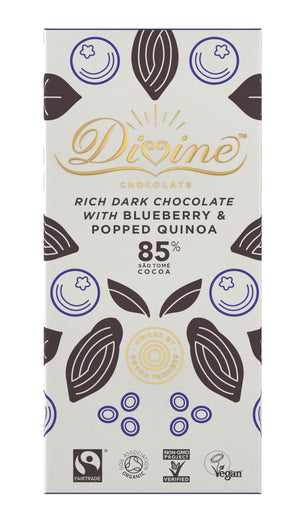 Divine 85% Dark Chocolate with Blueberry and Popped Quinoa - 80g - Shipping From Just £2.99 Or FREE When You Spend £60 Or More