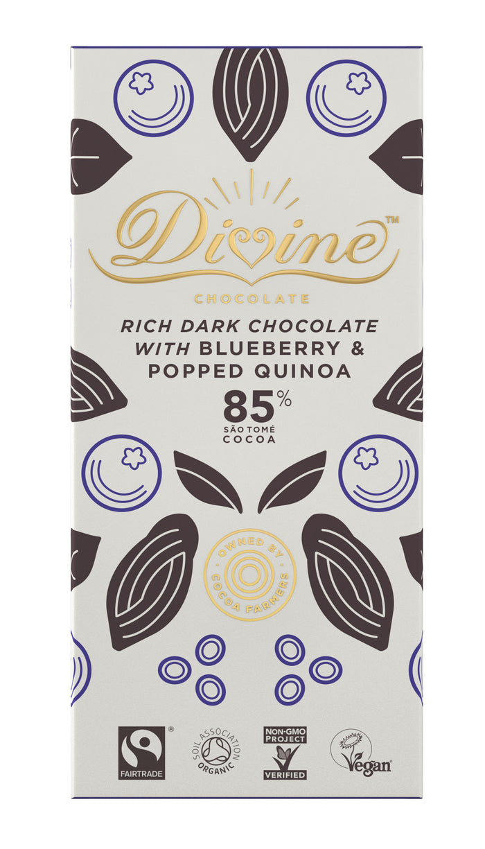 Divine 85% Dark Chocolate with Blueberry and Popped Quinoa - 80g