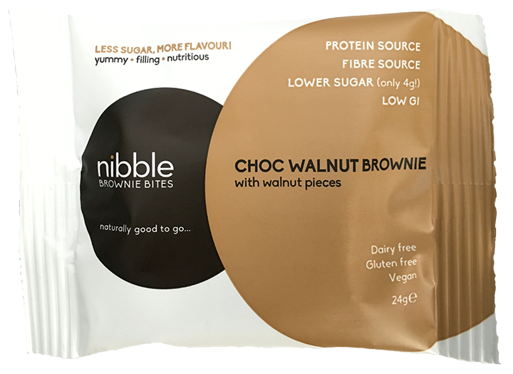 Nibble Choc Walnut Brownie Bites 24g