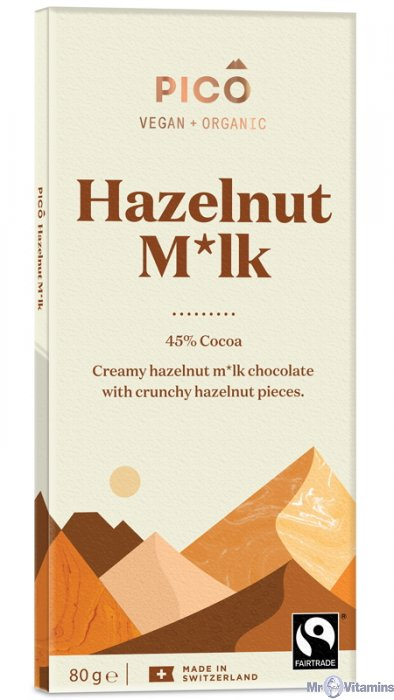 Pico Organic Hazelnut M*lk Chocolate 80g - Shipping From Just £2.99 Or FREE When You Spend £60 Or More