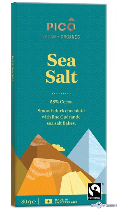 Pico Organic Sea Salt Chocolate 80g - Shipping From Just £2.99 Or FREE When You Spend £60 Or More