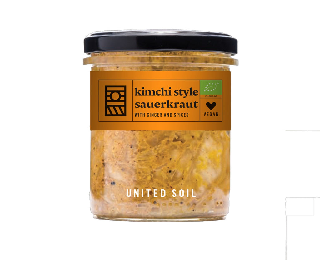 United Soil Organic Kimchi Style Sauerkraut Ginger Spices 290g - Shipping From Just £2.99 Or FREE When You Spend £60 Or More