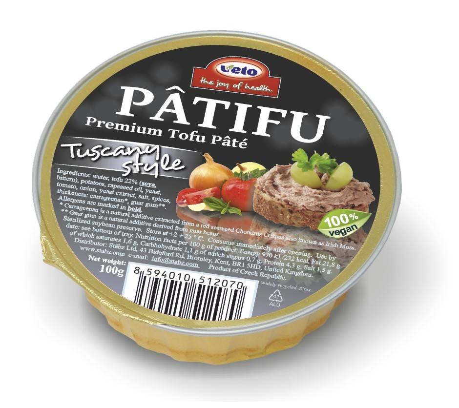 Patifu Tofu Pate Tuscany Style 100g - Shipping From Just £2.99 Or FREE When You Spend £60 Or More