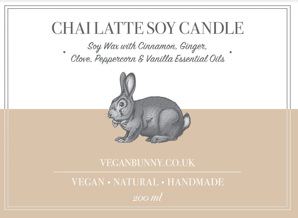 Vegan Bunny Chai Latte Soy Candle 200ml - Shipping From Just £2.99 Or FREE When You Spend £60 Or More