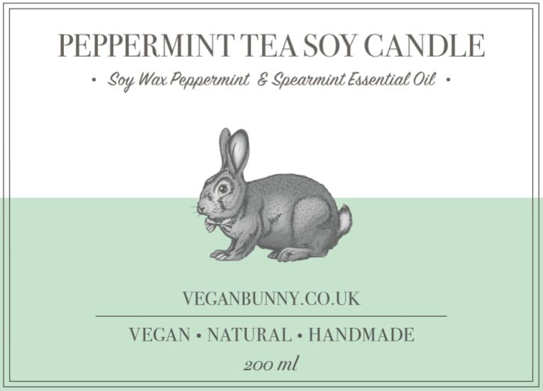 Vegan Bunny Peppermint Tea Soy Candle 200ml