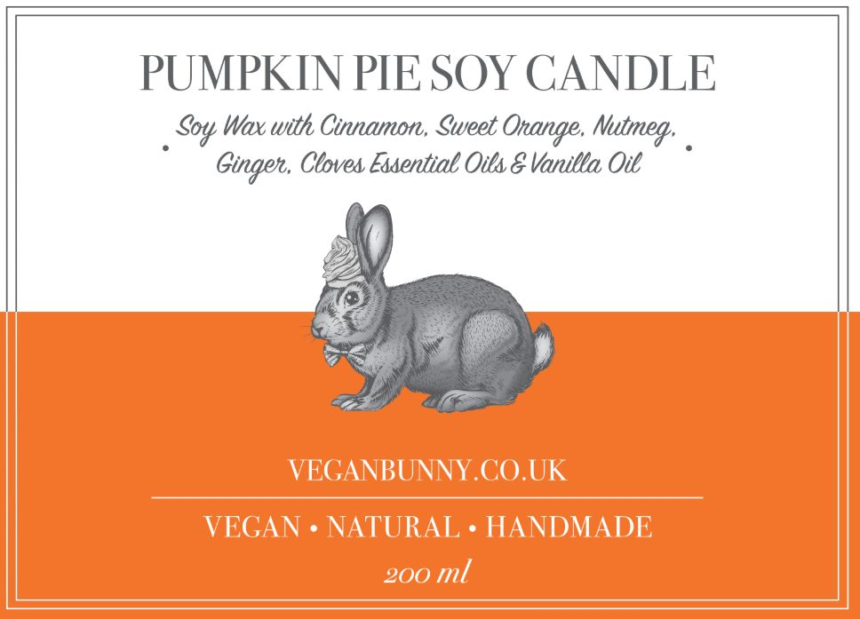 Vegan Bunny Pumpkin Pie Soy Candle 200ml