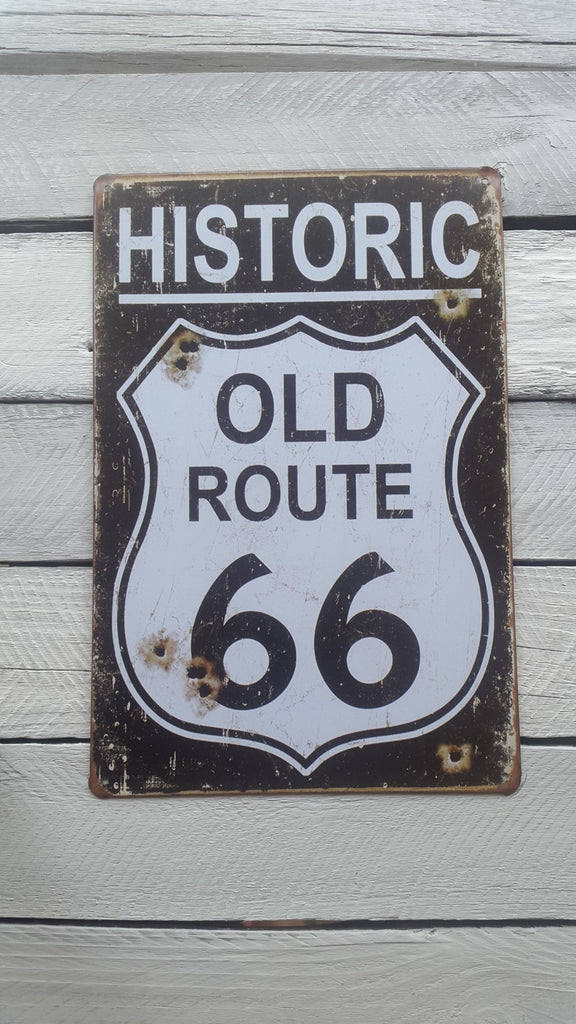 A4 Historic Route 66 Badge And Bullet Holes Sign