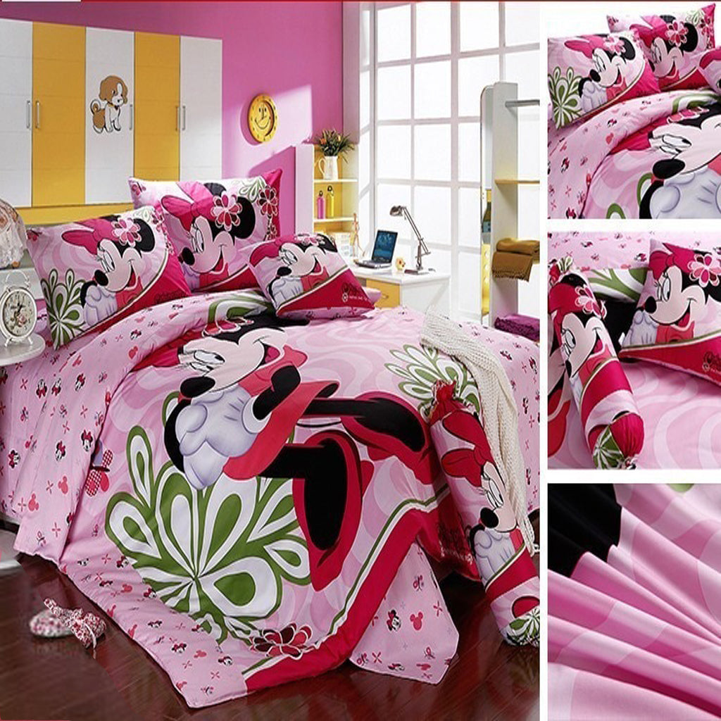 Mickey Mouse & Friends Goofy Egyptian 100% Cotton Bed Linen Twin Full Queen King Bedroom Decor Pink Bedding Sets Luxurious MMF5