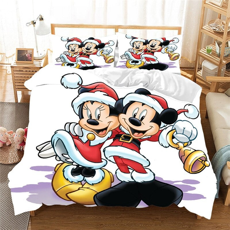 Christmas Bedding Sets 3D Mickey Minnie Home Textile Bed Linens Great Gift For Children