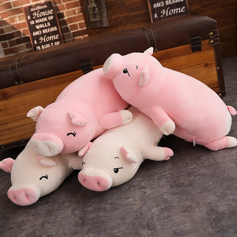 Pig Stuffed Animal Doll Lying Soft Plush Hand Warmer Blanket Kids Comforting Gift