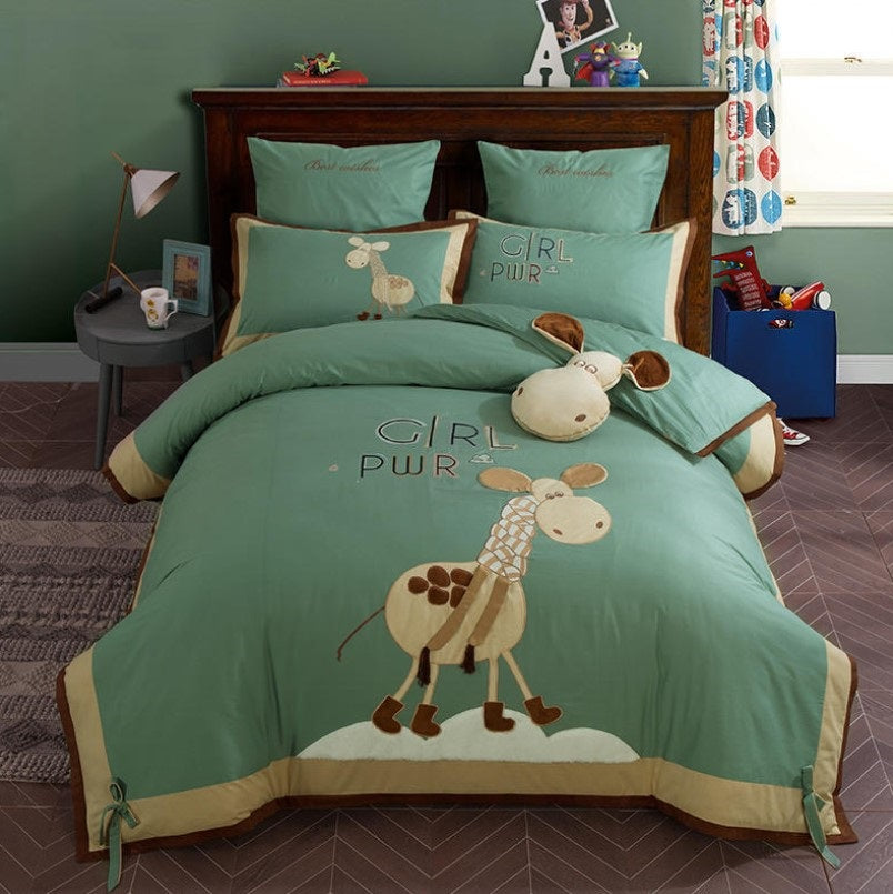 Girls Bedding Sets Cotton Satin Boy And Girl Cute Little Embroidery Bedding