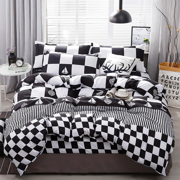 Black White Plaid Brief Pattern Bedding Sets Duvet Cover Bed Sheet Kids Bedding Sets Twin/Full/Queen/King size