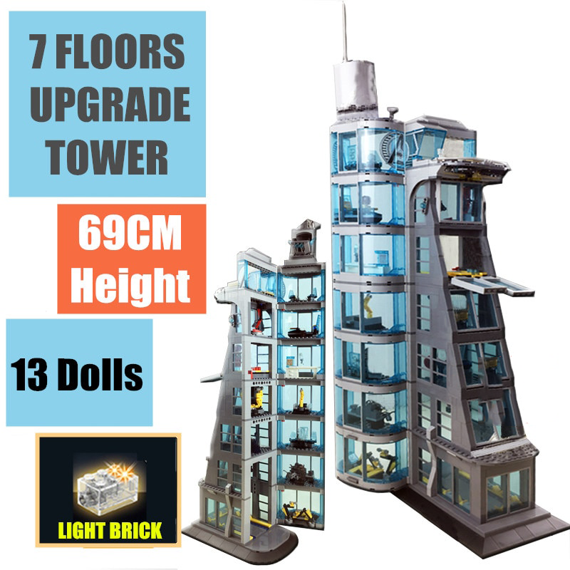 Tower Blocks New Upgraded SuperHeroes Marvel Avengers Building Block Bricks Boy Gift Toy