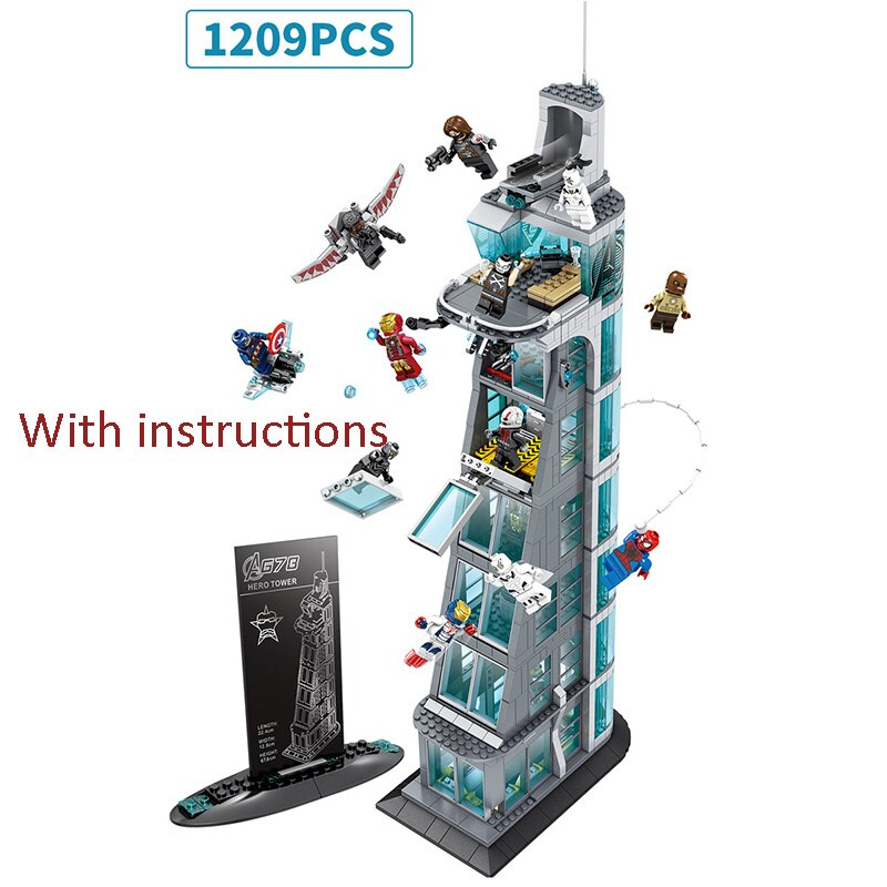Tower Blocks Compatible Lepining Avengers Tower Fit Infinity Star Wars Spider Ironman Building Block