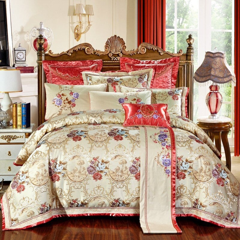 Luxury Bedding Sets Wedding Royal Cotton Stain Jacquard Bed Spread King Queen Size