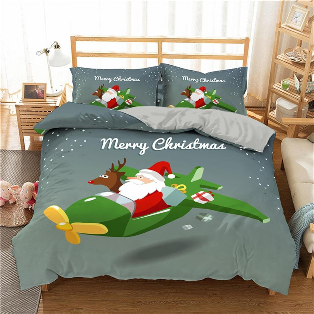 Christmas Bedding Sets 3D Merry Christmas Deer And Santa Claus Microfiber Bedclothes