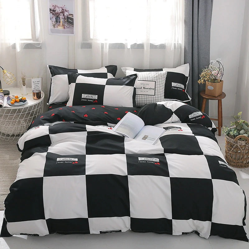 Modern Bedding Sets Cotton Black and White Cute Stripe Bed Linen King Queen Full Twin Size