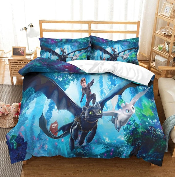 How to train your dragon 3D Bedding Sets Duvet Cover Kids Bedding Sets Toothless Night Fury Twin/Full/Queen/King Size