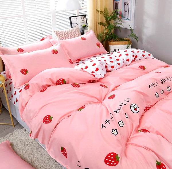 Love Strawberry Pink Pattern Bedding Sets Duvet Cover Bed Sheet Bed Linings Kids Bedding Sets Twin/Full/Queen/King Size