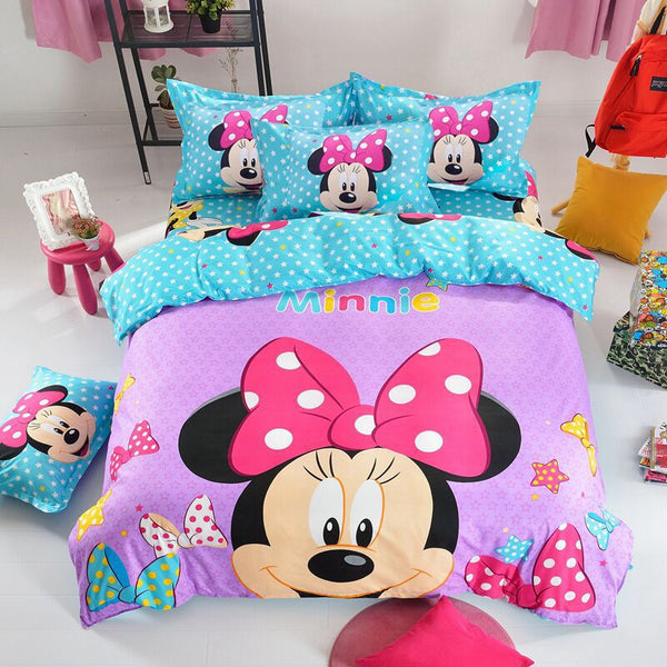 Mickey Minnie Mouse Bedding Sets Duvet Cover Bed Sheet Kids Bedding Sets Twin/Full/Queen/King size