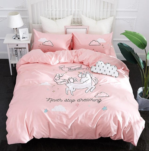 Cute Unicorn Bedding Sets Duvet Cover Embroidery Kids Bedding Sets Soft Bed Linen Twin/Queen/King Size