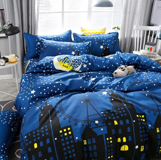 Dark Blue City Night Scene Bedding Sets Duvet Cover Bed Sheet Kids Bedding Sets Twin/Full/Queen/King size