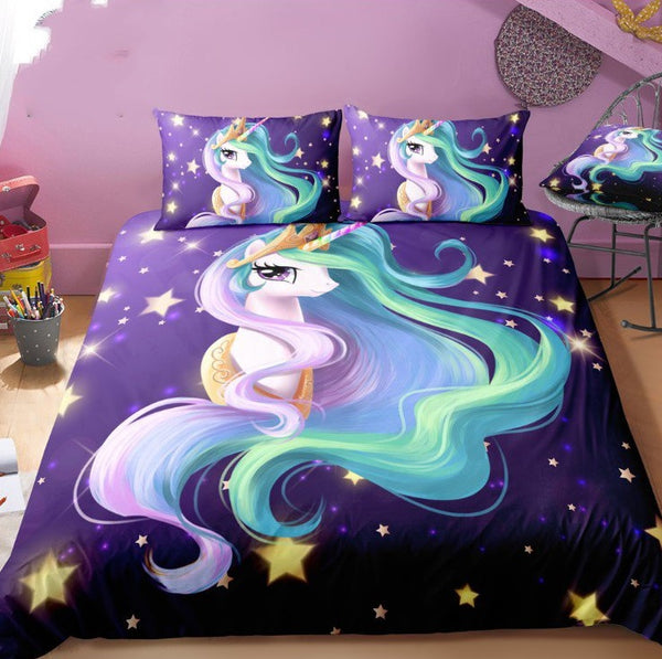 3D Digital Unicorn Bedding Sets Duvet Cover Kids Bedding Sets 100% Microfiber Rainbow Color Twin/Full/Queen/King Size